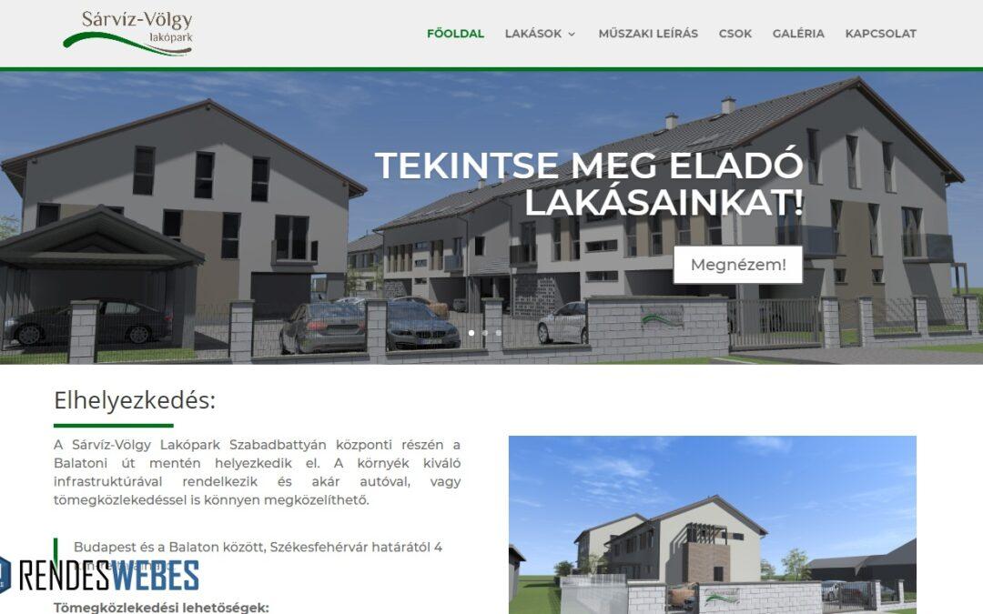 Sárvízvölgy lakópark weboldala