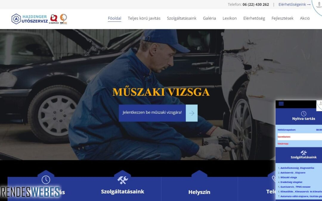 Haidinger Autószervíz honlapja